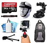 64GB MicroSD Memory Card + Head Front Helmet Mount + Car Window Suction Dash Dashboard Mount + Backpack Bag + Action Movie Stabilization Handle Handheld Grip for GoPro HERO4 Hero 4 Black Silver