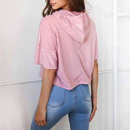 corta Tops con floral capucha Camisetas rosas Sudadera para bordado casual de manga mujeres con 7UIxnd4