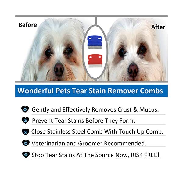 2 Pack Pet Dog Cat Flea Comb Tear Eye Stain Remover Combs, Hair Brush Effectively Clean and Removes Tangles, Dirt, Fleas… Click on image for further info. 5