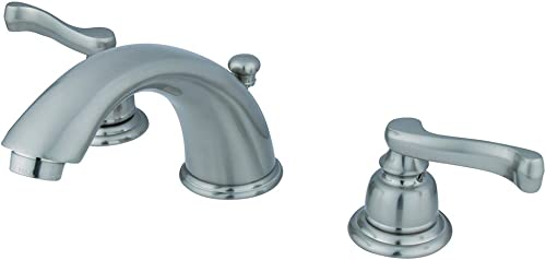 Kingston Brass KB8968FL Royale Widespread Bathroom Faucet with Brass Pop-Up Drain, 5-3 4 , Brushed Nickel