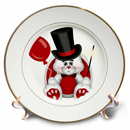 - 3dRose cp_269305_1 Cute Red, White, and Black Top Hat Happy New Years Rabbit Dinner Plates, 8