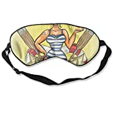 HSHISKH Natural Silk Sleep Mask,Blindfold,One Strap Super Smooth Eye Mask - Pin-Up Sexy Sailor Girl Print