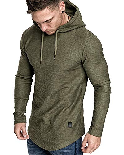 lexiart Mens Fashion Athletic Hoodies Sport Sweatshirt Solid Color Fleece Pullover Green XL