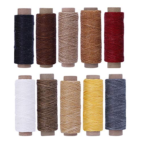 (BUTUZE 550Yards Leather Sewing Waxed Thread ,150D 55Yards Per Spool Stitching Thread for Leather Craft DIY,Bookbinding,Shoe Repairing,Leather Projects)