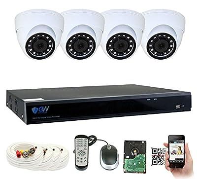 GW Security 5MP DVR Security Camera System - 5MP HDTVI Video Audio CCTV Surveillance Weatherproof Microphone Dome Cameras