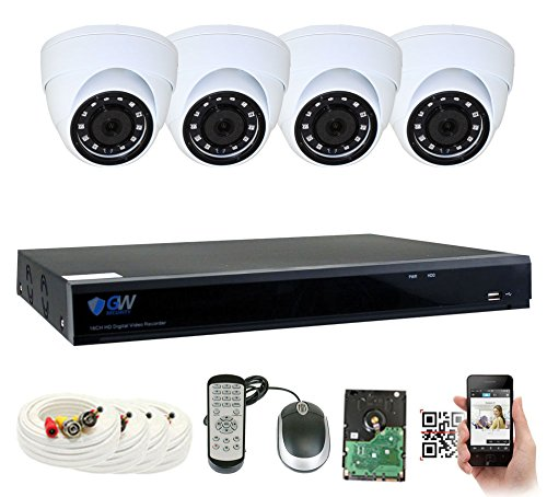 (GW Security 8 Channel DVR 1TB HDD CCTV 5MP Video & Audio Surveillance Security Camera System - 4 x 5MP HDTVI Weatherproof Microphone Dome Cameras)