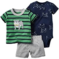 Carter's 3 Piece Striped Set, Green/Black, 6 Months