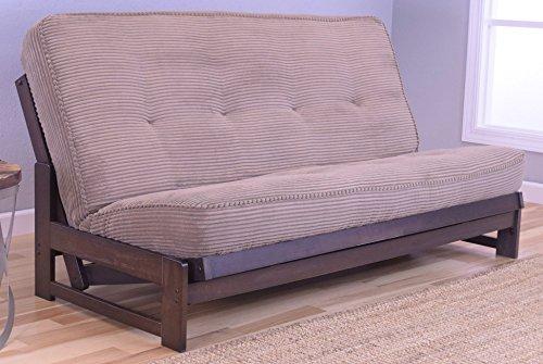 Colorado Reclaim Mocha Frame and Mattress Set w/ Choice of Fabrics, 7 Inch Innerspring Futon Sofa Bed Full Size Aspen Style (Frame w/ Chanterelle) - Oak Set Futon Frame