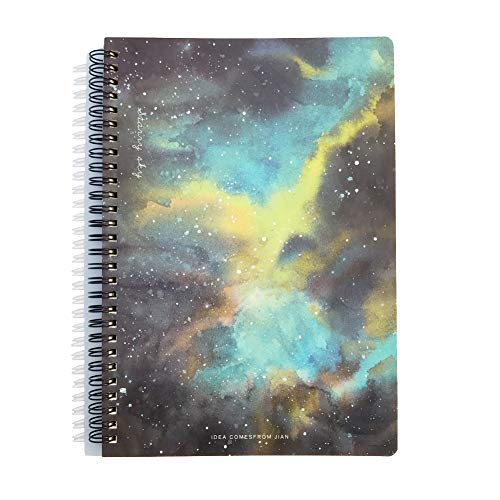 Siixu Star Rover Hardcover Journal, Spiral Color Notebook for Record/Idea/Meeting, Lined Paper, Cute Beautiful Design, 136 Pages, Large, Light Blue, Lay Flat