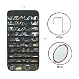 Hanging Jewelry Organizer Dual Sided Closet Accessory Storage Bag 80 Pockets Black