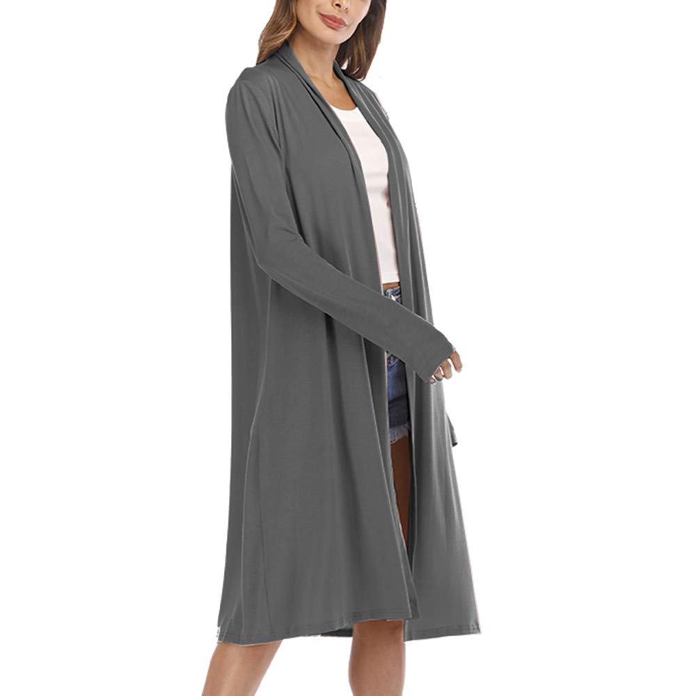 FANOUD Womens Casual Tops Sexy Long Sleeve Open Front Patchwork Loose Cardigan Coat