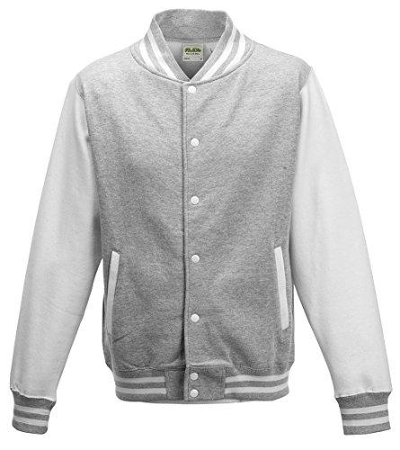 - AWDis Hoods Varsity Letterman jacket Heather Grey / White S