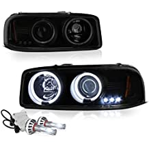 [Built-In COB Cree LED Low Beam] - VIPMotoZ 1999-2006 GMC Sierra 1500 2500 3500 Yukon XL Smoke Lens CCFL Halo Headlights, Driver and Passenger Side