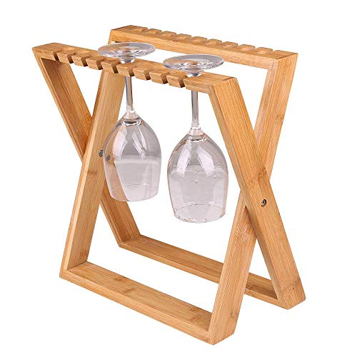 ISINO Bamboo Wine Glass Rack, Foldable Countertop Wine Stemw