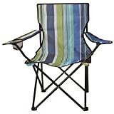 Stripe Folding Camping Deck Chair Outdoor Fishing Picnic Beach Garden Patio Foldable Furniture Seat (Stripe Blue)
