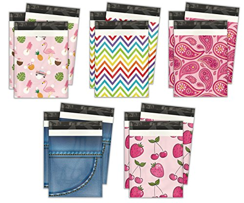 10x13 Variety Pack #3 Designer Poly Mailers Shipping Envelopes Premium Printed Bags 5 Designs (Variety Designer)