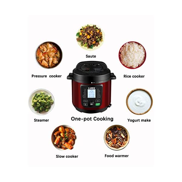 Luby Electric Pressure Cooker 6 Qt,16 Smart Programmable,Slow Cooker Yogurt Maker Rice Cooker Saute Steamer Egg Cooker… 3