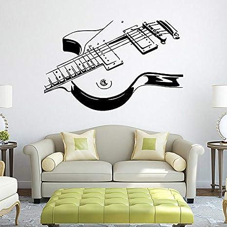 liuweidedian Guitarra Eléctrica Etiqueta De La Pared De Vinilo Calcomanía Arte Decoración para El Hogar Chico Chica Salón Instrumento Musical Tatuajes De ...