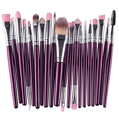 ♥Xjp 20PC Outil à brosses à maquillage pour les lèvres à lèvres ombre à paupières♥ (Violet)