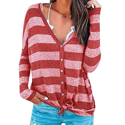 Manches V Femmes Femmes chaude d'impression Tops Chemise Bouton Stripe Veste Xinantime Longues Neck Tops hiver Tunique Chemises Automne Rouge Blouse Pull Blouse wzIIpq