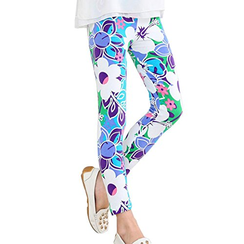 Girls Active Leggings Baby Toddler Kid Floral Print Comfy Children Long Pants Tights Trousers for 2~13Y (5T, Blue)