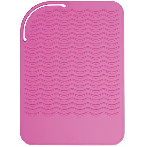 - OXO Good Grips Heat Resistant Silicone Travel Mat for Curling Irons and Flat Irons,Pink