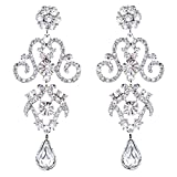 ACCESSORIESFOREVER Women Bridal Wedding Jewelry Crystal Rhinestone Stunning Dangle Earrings E1021 Silver