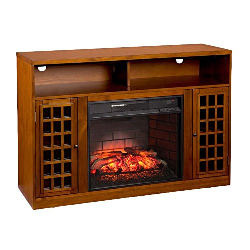Southern Enterprises AZ2039IF Narita Media Infrared Electric Fireplace, Glazed Pine Finish