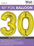Wish Party Goods Extra Large Giant Jumbo 40 inch Gold Color High Quality Mylar Foil Number Balloons - Special Milestone Birthday/Anniversary/Wedding Party Event Decorations (30)