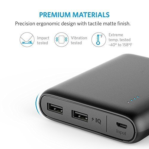 Anker PowerCore 13000, Compact 13000mAh 2-Port Ultra-Portable Phone Charger Power Bank with PowerIQ and VoltageBoost Technology for iPhone, iPad, Samsung Galaxy (Black)