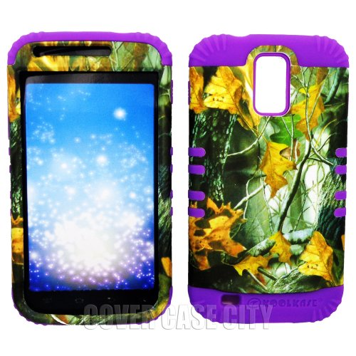 2 in 1 Hybrid Case Protector for T-mobile Samsung Galaxy S2 S 2 ll T989 Phone Hard Cover Faceplate Snap On Purple Silicone + Camo Mossy