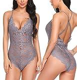 Avidlove Women Teddy Lingerie One Piece Babydoll Mini Bodysuit, Gray, XX-Large
