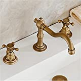 Vintage Two-Handle Widespread Bathroom Sink Faucet Antique Brass Bathtub Basin Mixer Tap Lavatory Faucets, Three Holes Deck Mount