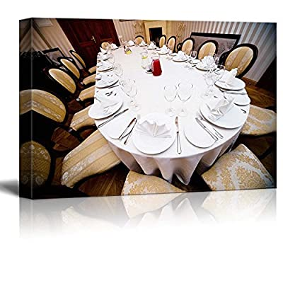 Gorgeous Piece, Quality Artwork, Banquet Table with Dishes and Utensils Wall Decor Wood Framed