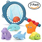 KKONES Colorful Bath Toy (7pcs) Floating Squirts Water Swimming pool toys for toddler baby kids boys girls Fun Bath time