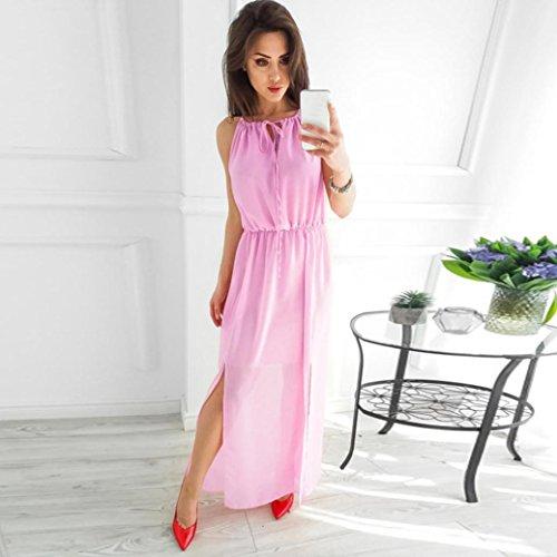 Partito Moda Donne Di Kimodo Abito Maniche Solido Sera Casuale Rosa Lungo Chiffon Senza w6qF0H6