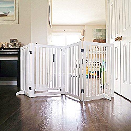 WELLAND Freestanding Wood Pet Gate w/ Walk Through Door, 88-Inch, White by WELLAND (Image #2)
