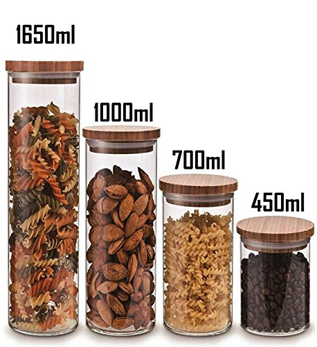 Cozy Homy Clear Glass Snack Sugar Tea Storage Jar Bottle Round Shape Glass Food Storage Jar Set Kitchen Canister with Airtight Bamboo Lid Seal (4 PCS Set) (Bamboo Kitchen Storage Canister)