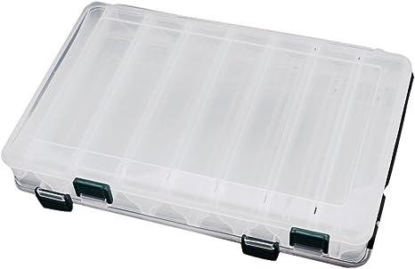 TOOGOO 27 * 18 * 4.7cm 14 compartimentos caja de almacenamiento impermeable La pesca con mosca Senuelo Cuchara cebo gancho Cara doble de alta resistencia de transparente Visible Pesca en plastico Senu: