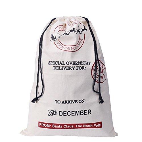 Giveme5 Vintage Hessian Burlap Christmas Santa Sack Gift Bag,Sika Deer Pattern Design,20