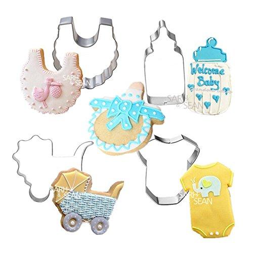 Saasiiyo 5pcs/set Metal Stainless Steel of Baby Series Feeding Bottle Bibs Stroller Nipple Clothing Cookie Cutters Fondant Biscuits - Clothing In Outlets Pa