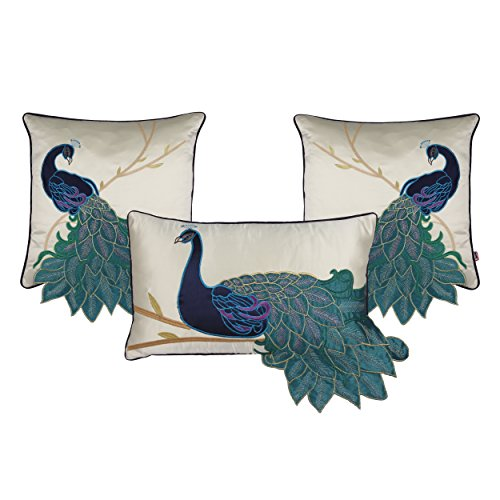 Queenie - 1 Pc Peacock/parrot Decorative Pillowcase Cushion Cover Throw Pillow Case 16 X 16 Inch 40 X 40 Cm (Peacock embroidery with applique - bundle set of 3) ()