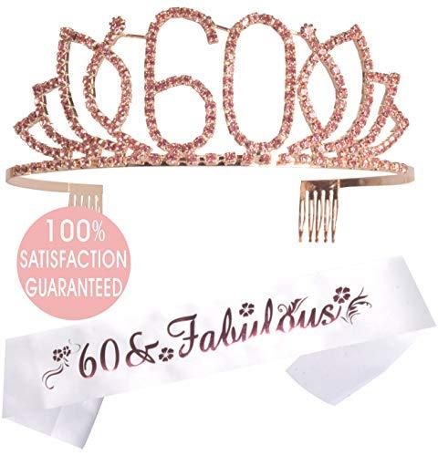 60th Birthday Tiara and Sash Pink | Happy 60th Birthday Party Supplies| 60 & Fabulous White Glitter Satin Sash and Crystal Tiara Birthday Crown for 60th Birthday Party Supplies and Decorations ()
