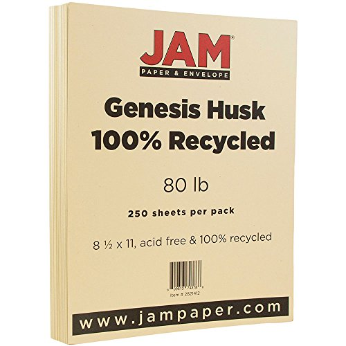 Wove 250 Sheet Business Paper - JAM PAPER Recycled 80lb Cardstock - 8.5 x 11 Coverstock - Husk Genesis - 250 Sheets/Ream