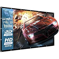 120 Inch Projector Screen outdoor Indoor Home Theater/Cinema - 16:9 Portable Projector Screen - Suitable for HDTV/Sports/Movies/Presentations Support Double Sided Projection(1 Year Warranty)