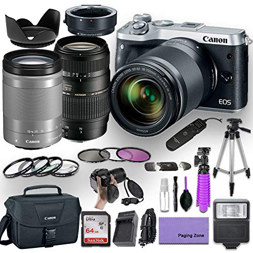 Canon EOS M6 Mirrorless Camera (Silver) with 2 Lens (Canon 18-150mm f/3.5-6.3 is STM Lens and Tamron 70-300mm f/4-5.6 Lens) and EF/EF-M Mount Adapter Bundled with Premium Accessories (15 Items)