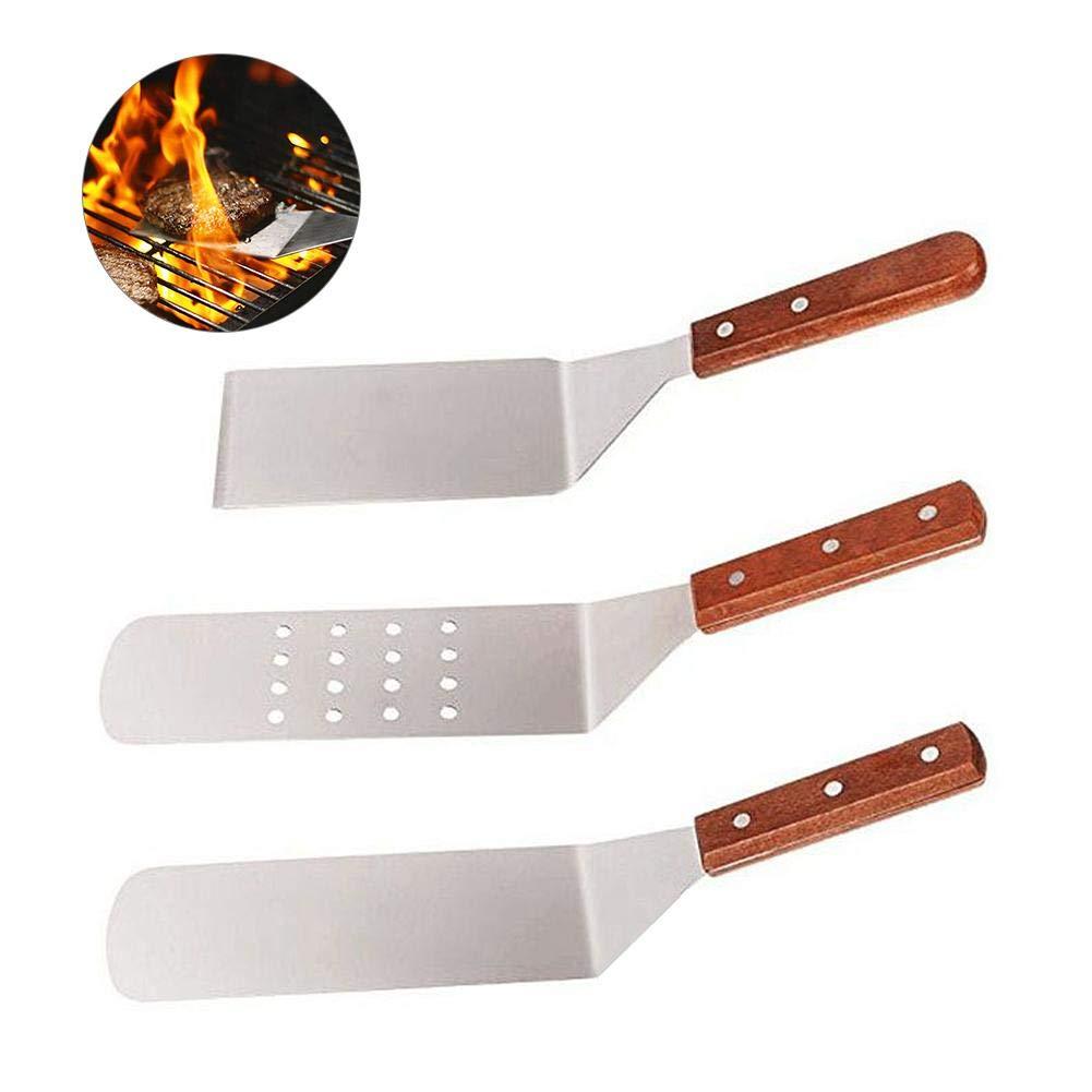 Ensemble de grattoir /à m/étal en Acier Inoxydable poign/ée en Plastique /à Manche en Acier Inoxydable Pelle /à Steak frite de Style Japonais pour ustensiles de Cuisine