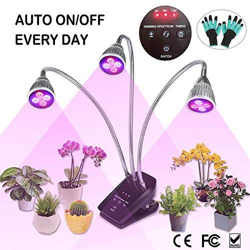 (LED Grow Light, Full Spectrum Plant Light for Indoor Plants, 3/6/12 Hours Auto ON/Off Timer, 3 Heads Desk Grow Lamp Clip On, 10 Dimmable Growing Bulbs for House Gardening Seed, Seedling, Herbs, Orchid )