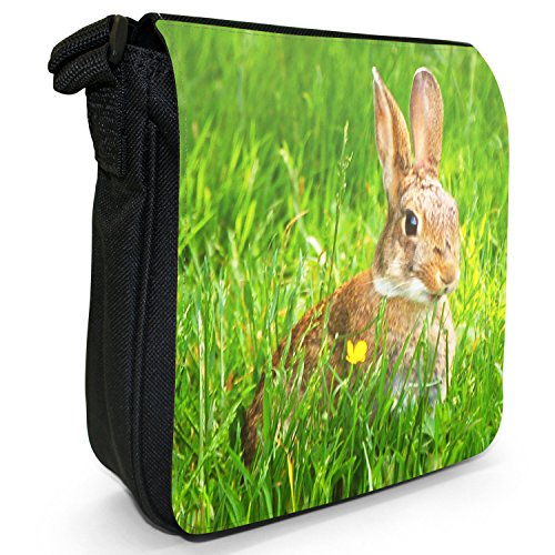 Size Rabbit Black Rabbits Grass Shoulder Bunny In Small Canvas Bag Hiding xn0pqCYEw