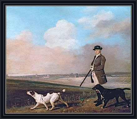 Stubbs (Sir John Nelthorpe, 6th Baronet out Shooting with his Dogs in Barton Field, Lincolnshire, 1776) Canvas Art Print Reproduction Framed with 2.6